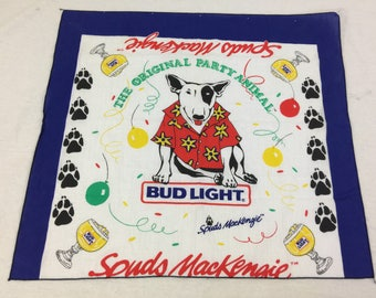 Vintage 80s Bud Light Spuds Mackenize The original Party Animal Bandana