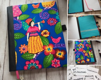 Faith Journal -- Angel Fabric Covered Grid Notebook --Mexican Bright Colors Style Fabric -- Meditation Journal — Gift — Grid Journal