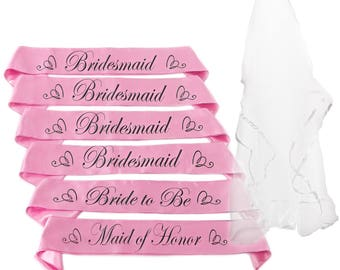 Bride to be Sash set | Bachelorette Party Essential | 1 Bride to be Sash | 4 Bridesmaid Sash | 1 Maid of Honor Sash | Bonus Veil