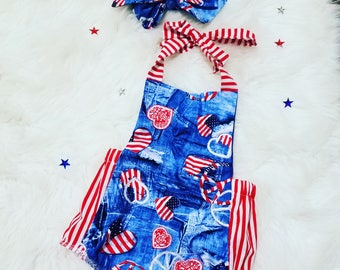 Fourth of July Romper ~Red White and Blue