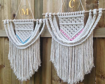 Personalised Natural Cotton Rope Macrame Wall Hanging With Coloured Beads