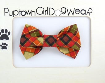 Dog bow tie Cat Bow Tie Plaid Bow Tie Dog Bow Tie Red Plaid Bow Tie Christmas Bow Tie for Dog