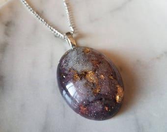 Silver Galaxy Oval Drop Necklace
