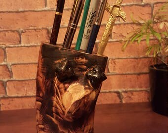 Hand carved scorched timber (beaky) pen holder desk caddy