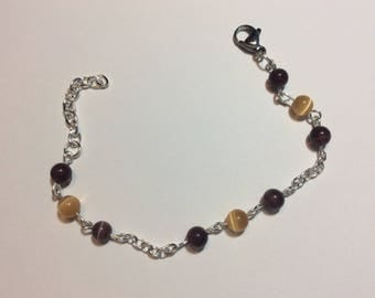 "Bracelet for woman ""Brown and Brown cat's eye chained"""