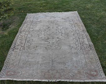 Free Shipping Decorative Area Rug Vintage Oushak Rug 5.4 x 7.8 feet Turkish Rug Bohemian Rug Aztec Rug Boho Tribal Rug Wool Rug DC963