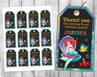 Little Mermaid Thank You Tags, Little Mermaid Favor Tags, Little Mermaid Gift Tags, Little Mermaid Tags, Tag Printable, Birthday Tags