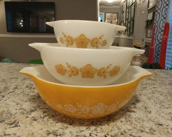 Vintage Pyrex Gold Butterfly Cinderella Bowls 444 443 441