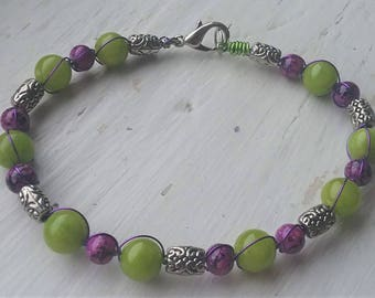 Purple, Lime Green, and Silver Bracelet
