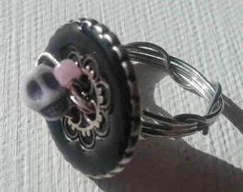 Black Button Tiny Skull Ring