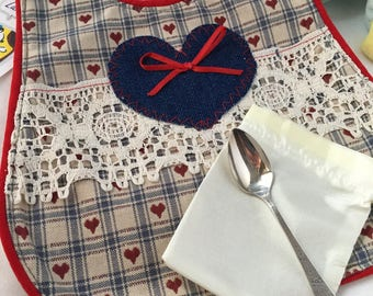 Blue and Red Heart Baby Bib Gift Set with Vintage Silver Spoon