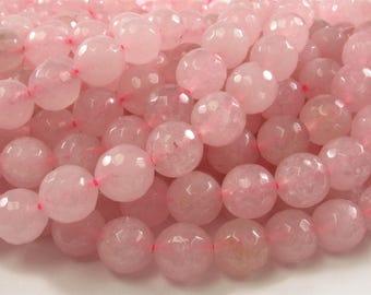 10 mm Faceted Round Rose Quartz Semi Precious Stone Beads,October Birthstone, Natural Rose Quartz Beads, Round Rose Quartz Beads(474-RQZF10)
