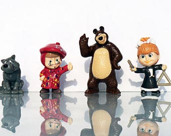 4 psc Masha and the Bear Minifigures toys party favor cupcake toppers cartoon series holiday miniature surprise baby Figurine