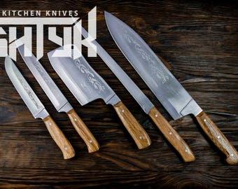 Kitchen knife set of 5, Utility Chef Knives Set, Professional Kitchen Knife Set, Meat Knife, Cutting Kitchen Set, Butchers Knife,