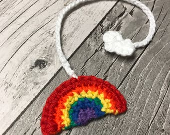 Rainbow and cloud umbilical cord tie cotton crochet natural home birth hospital labour delivery csection born baby doula handmade ready new