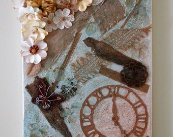 Creative time mixed media canvas collage // flower collage // mixed media art // natural elements mixed media // clock collage // butterfly