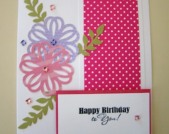 Hand crafted 5x7 birthday in pink, white and purple. #birthdaycard #custommadecard #cardmaking #handmadecard #diecutting #cardforher