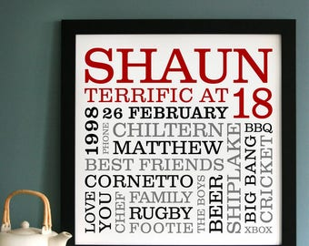 Personalised 18th Birthday Typographic Art