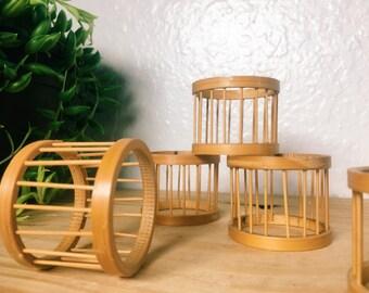 Rattan Napkin Rings, MCM Set of 5