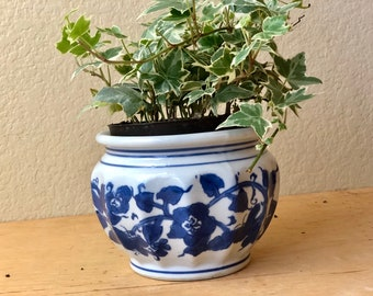 Small Ceramic Blue and White Asian Planter