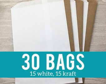 30 Favor Bags - 15 White and 15 Kraft Brown, Wedding Favor Bags, Baby Shower Bags, Party Favor Bags, Flat Merchandise Unlined Bags - 5x7.5""