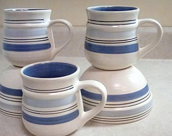 Pfaltzgeraff Rio Hand Painted Coffee Mugs Cups Bowls lot blue