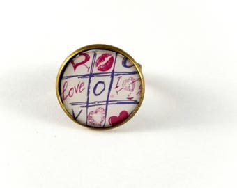 Game of hearts pattern cabochon Adjustable ring