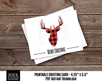 Printable Card, Christmas Card PDF,  Buffalo Plaid Deer, DIY Card Kit, Printable xmas with diy Envelope, Merry Christmas, SKU RGC131