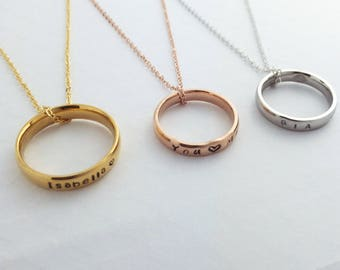 Personalized Name Ring Necklace / Gold Silver Rose Gold Plated / Size 5 - 12 / Couple Ring/ Personalized Ink Filled Ring with Chain / Birthd