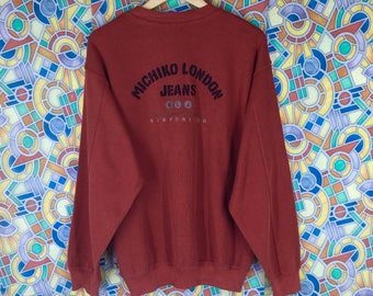 rare ! vintage michiko london jeans spellout embroidere crew neck jumper sweatshirt