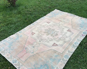 "Oushak rug,area rug.4""1x6""7ft.home deco rug,desing rug,turkish rug,vintage oushak rug,vintage rug,floor rug,anatolion rug,area rug,old rug."