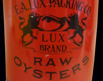 Lux Brand Pint Oyster Tin Can from Baltimore, MD.