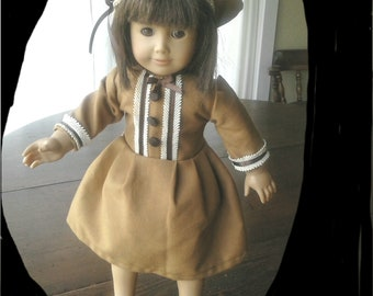 Brown on Brown dress and beret for 18 inch doll