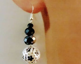 Black and silver caged bead drop earrings