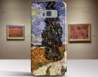 "Vincent van Gogh, ""Road with Cypress and Star"". Samsung S8 Case, Samsung S7 Case, Samsung S6 Case, Huawei, LG, Google Pixel Cases."