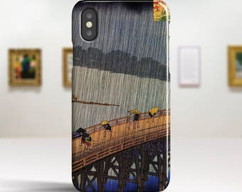 """Utagawa Hiroshige, """"Evening Shower at Atake"""". iPhone X Case Art iPhone 8 Case iPhone 7 Plus Case and more. iPhone X TOUGH cases."""