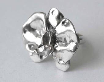 Medium Sterling Silver Orchid Ring/Handmade Ring/Gift for her/Silver Orchid/Silver Flower Ring/Artisan Jewellery/Custom Sizes/Valentine Gift