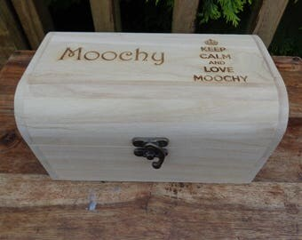 KEEP CALM Personalised Wooden Engraved Treasure Chest Box Various Sizes