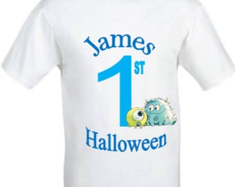 Baby Boys first halloween babygrow,First halloween shirt,babies first halloween babygrow,boys monster babygrow, custom halloween babygrow.
