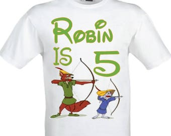 Robin Hood birthday shirt,boy's Robin Hood birthday shirt,Boy's Birthday shirt,Personalised birthday shirt,Party shirt.