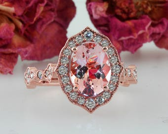 Morganite Oval  Engagement Ring Morganite and Diamond Antique Vintage style Ring 14k Rose Gold. 9/7