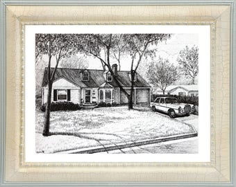 Our First Home House Drawn in Ink Architectural Sketch custom home drawing Custom Ink House home portrait Custom House