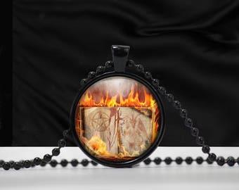 Satanic Book Pendant with pentagram, Baphomet and fire necklace - Satanic jewelry