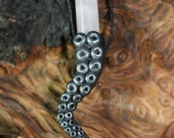 Black Rose Quartz Tentacle Necklace