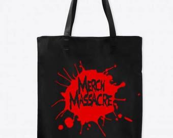 Merch Massacre Logo Horror Canvas Tote Bag Market Pouch Grocery Reusable Halloween Merch Massacre Black Friday Christmas