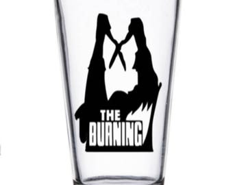 Burning Cropsy Slasher Camp Killer Eighties Horror Pint Wine Glass Tumbler Alcohol Drink Cup Barware Halloween Merch Massacre