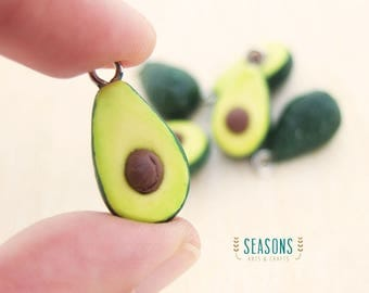 Avocado Clay Charm - Jewelry Supply - Miniature Food - Food Jewelry - Planner Charm - Phone Charm - Stitch Marker