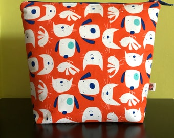 "Handmade large zipper pouch for knitting and crochet project 11.5"" x 7.5"" x 9.5"" x 3.5""  *Raining cats and dogs*"
