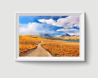 Landscape Watercolor Painting Art Printable Q318