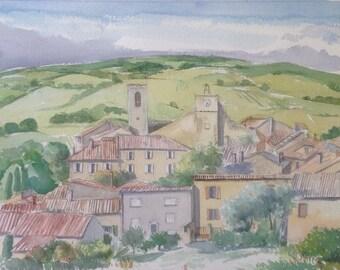 Vue sur Buisson Vaucluse Provence Village watercolor painting aquarelle peinture aquarel wasserfarben paysage landscape landschap